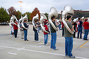USA, University of Arkansas at Fayetteville marching band practicing for a football game