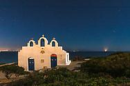 Pirgaki, Paros, Greece - July 2021: Agios Georgios chapel