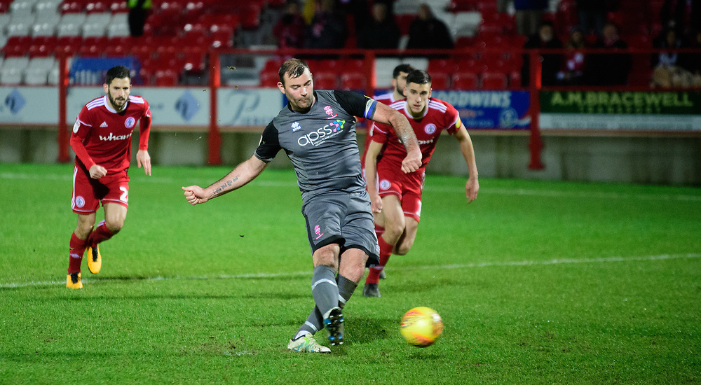 Lincoln City's Matt Rhead misses a chance to score from the penalty spot<br /> <br /> Photographer Andrew Vaughan/CameraSport<br /> <br /> The EFL Checkatrade Trophy Second Round - Accrington Stanley v Lincoln City - Crown Ground - Accrington<br />  <br /> World Copyright © 2018 CameraSport. All rights reserved. 43 Linden Ave. Countesthorpe. Leicester. England. LE8 5PG - Tel: +44 (0) 116 277 4147 - admin@camerasport.com - www.camerasport.com