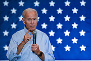 Former Vice President Joe Biden addresses a town hall meeting at the International Longshoreman's Association Hall July 7, 2019 in Charleston, South Carolina.