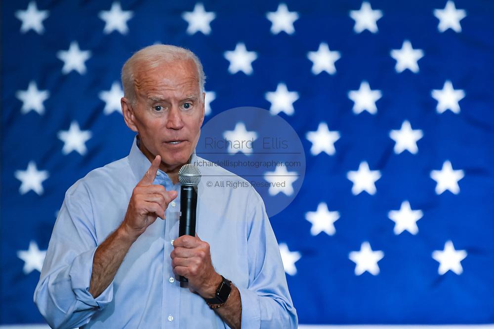 Former Vice President Joe Biden addresses a town hall meeting at the International Longshoreman's Association Hall July 7, 2019 in Charleston, South Carolina.