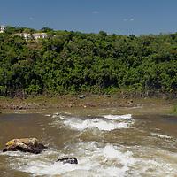 South America, Argentina, Iguacu Falls. View of Hotel Das Cataratas over Falls.