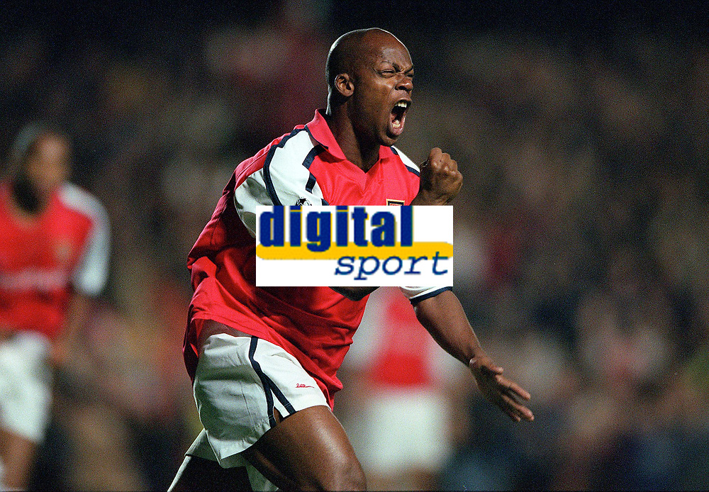 Sylvian Wiltord celebrates scoring the 1st Arsenal goal after Theirry Henrys missed penalty. Arsenal 3:2 FC Shakhar Donetsk, UEFA Champions League, Group B, 20/9/2000. Credit: Colorsport / Stuart MacFarlane.