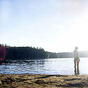 Meghan looking into the sunset at Walden Pond