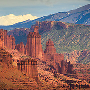 Fisher Towers along the Colorado River near Moab, Utah.
