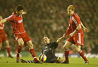 Photo: Aidan Ellis.<br /> Liverpool v Watford. The Barclays Premiership. 23/12/2006.<br /> Watford's Tommy Smith comes under pressure from Liverpool's Xabi Alonso (L) an John Arne Riise