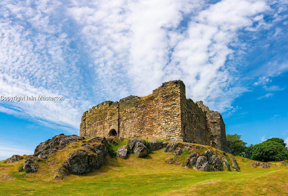 Exterior view of Castle Sween in shore of Loch Sween in Argyll & Bute, Scotland, UK