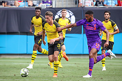 July 22, 2018 - Charlotte, North Carolina, USA - Borussia Dortmund forward Maximilian Philipp (20) and Liverpool defender Joe Gomez (12) during an International Champions Cup match at Bank of America Stadium in Charlotte, NC.  Borussia Dortmund of the German Bundesliga beat Liverpool of the English Premier League 3 to 1. (Credit Image: © Jason Walle via ZUMA Wire)