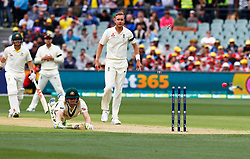 Australia's Cameron Bancroft is runout during day one of the Ashes Test match at the Adelaide Oval, Adelaide.