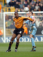 Photo: Kevin Poolman.<br />Wolverhampton Wanderers v Coventry City. Coca Cola Championship. 08/04/2006. Wolves' Paul Ince (L) and Dennis Wise fight it out.