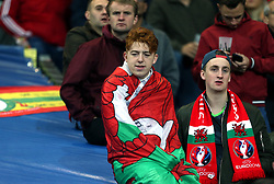Wales fans in the stands during the International Friendly match at the Stade de France, Paris. PRESS ASSOCIATION Photo. Picture date: Friday November 10, 2017. See PA story SOCCER France. Photo credit should read: Steven Paston/PA Wire. RESTRICTIONS: Editorial use only, No commercial use without prior permission.