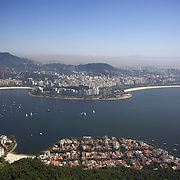 The view towards Botafogo and Flamengo from Sugar Loaf Mountain. Rio de Janeiro, Brazil. 27th August 2010. Photo Tim Clayton..