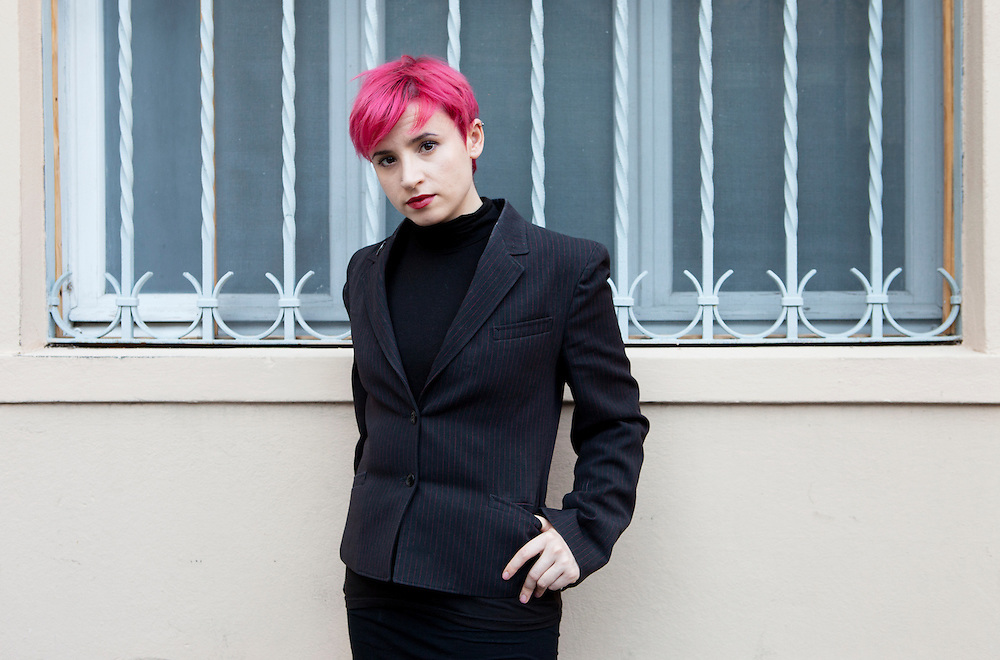 Ferrara, Italy, October 6, 2012. Laurie Penny, British journalist, writer, blogger and feminist. Laurie is a regular writer for New Statesman, The Guardian and The Independent. Author of Meat Market (2011) and Penny Red. Her blog, 'Penny Red', was shortlisted for the Orwell prize in 2010.