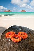 A lei draped on a rock at Lanikai Beach on Oahu, Hawaii