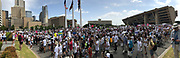Demonstrators march in protest against the Trump administration's policy of separating families from their children when they cross the border into the US to seek asylum. People from all over the Dallas-Fort Worth area came to make their voices heard during the Families Belong Together rally in downtown Dallas.