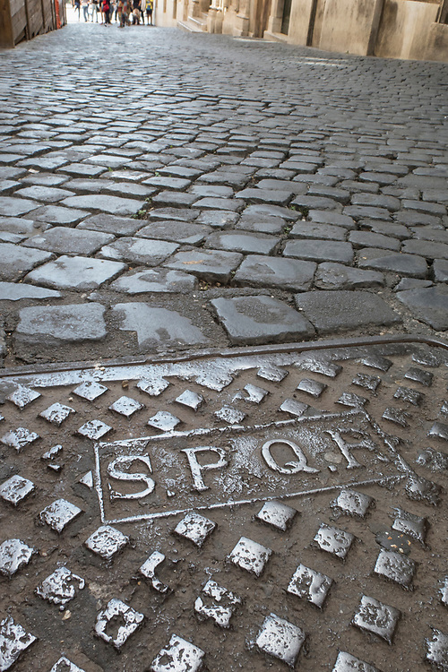 "SPQR on Roman Sewer Cover ""The Senate and People of Rome"""