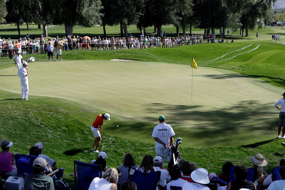 Ladies Professional Golf Association tour member Lorena Ochoa chips onto the green at the Mission Hills Country Club during the Kraft Nabisco Championship in Rancho Mirage, California.