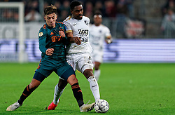 Gyrano Kerk #7 of FC Utrecht, Lisandro Martinez #21 of Ajax in action during the semi final KNVB Cup between FC Utrecht and Ajax Amsterdam at Stadion Nieuw Galgenwaard on March 04, 2020 in Amsterdam, Netherlands