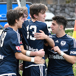 BRISBANE, AUSTRALIA - NOVEMBER 12: Melbourne Victory players celebrate scoring a goal during the round 1 Foxtel National Youth League match between the Brisbane Roar and Melbourne Victory at Spencer Park on November 12, 2016 in Brisbane, Australia. (Photo by Patrick Kearney/Brisbane Roar)