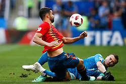 July 1, 2018 - Moscou, Rússia - MOSCOU, MO - 01.07.2018: SPAIN VS RUSSIA - Diego Costa of Spain dispute ball with Igor Akinfeev of Russia during the match between Spain and Russia valid for the eighth finals of the 2018 World Cup held at the Luzhniki Stadium in Moscow, Russia. (Credit Image: © Marcelo Machado De Melo/Fotoarena via ZUMA Press)
