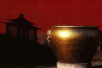"""A few days after Bertolucci's """"Last Emperor"""", in the Forbidden City, the shadow of a giant lantern contrasted with a shining cauldron. Photo: Nathalie Labeste."""