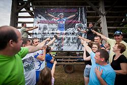Fans of Marko Kump during Slovenian Road Cyling Championship 2013 on June 23, 2013 in Gabrje, Slovenia. (Photo by Vid Ponikvar / Sportida.com)