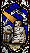 Church of Saint Mary Magdalene stained glass window, Thornham Magna, Suffolk, England, UK - child David