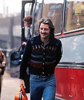 Frank Worthington - England, getting off the coach for the England trainig session . 29/10/1974 @ Roehampton . Credit: Colorsport