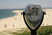 Coin-operated binoculars overlook Chatham Beach and the Atlantic Ocean, Chatham, Massachusetts.