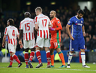 Chelsea's Diego Costa looks on dejected after Stoke's Lee Grant makes a save during the Premier League match at Stamford Bridge Stadium, London. Picture date December 31st, 2016 Pic David Klein/Sportimage