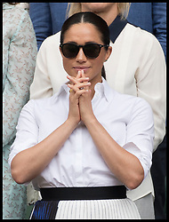 July 13, 2019 - London, London, United Kingdom - Image licensed to i-Images Picture Agency. 13/07/2019. London, United Kingdom. Meghan Markle, the Duchess of Sussex watches Serena Williams receive the runner up trophy after she lost  the Ladies Final on day twelve of the Wimbledon Tennis Championships in London. (Credit Image: © Stephen Lock/i-Images via ZUMA Press)