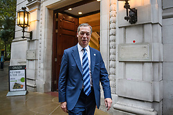 © Licensed to London News Pictures. 25/09/2019. London, UK. Brexit Party leader NIGEL FARAGE is seen leaving a television interview in Westminster on the day that MPs return to Parliament. The Supreme Court in London yesterday ruled that Parliament had been suspended illegally after British Prime Minster Boris Johnson prorogued parliament just weeks before the UK is due to leave the EU on October 31st. Photo credit: Ben Cawthra/LNP