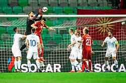 Jan Oblak of Slovenia vs Visar Musliu of Macedonia during football match between National teams of Slovenia and North Macedonia in Group G of UEFA Euro 2020 qualifications, on March 24, 2019 in SRC Stozice, Ljubljana, Slovenia. Photo by Vid Ponikvar / Sportida