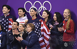 February 8, 2018 - Pyeongchang, South Korea - CHRIS KNIERIM and ALEXA SCIMECA KNIERIM, front left, of Colorado Springs sit with US teammates as they watch for their scores Friday, February 9, 2018, in the pairs Short Program Team event on opening day of the Figure Skating Team competition at the Winter Olympic Games in at the Gangneung Ice Arena in Pyeongchang, S. Korea.  Photo by Mark Reis, ZUMA Press/The Gazette (Credit Image: © Mark Reis via ZUMA Wire)