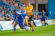 Gillingham FC forward Brandon Hanlan (7) and Southend United midfielder Ethan Hamilton (16) during the EFL Sky Bet League 1 match between Gillingham and Southend United at the MEMS Priestfield Stadium, Gillingham, England on 5 October 2019.