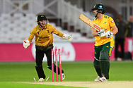 Chris Nash of Nottinghamshire with broken stumps during the Vitality T20 Blast North Group match between Nottinghamshire County Cricket Club and Leicestershire County Cricket Club at Trent Bridge, Nottingham, United Kingdom on 4 September 2020.