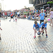 BETHLEHEM, PA - JUNE 16:  Kids play soccer at SteelStacks during the World Cup telecast on June 16, 2014 in Bethlehem, Pennsylvania. (Photo by Lisa Lake/Getty Images)