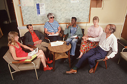 Discussion group in community centre,