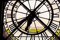 """One of the clocks at Musee d""""Orsay,  a museum in Paris, France, on the Left Bank of the Seine. It is housed in the former Gare d'Orsay, a Beaux-Arts railway station built between 1898 and 1900."""