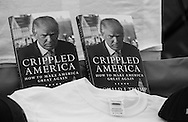 A Donald Trump books for sale in Baton Rouge, LA, outside of a rally for Republican presidential candidate Donald Trump, before he arrives, on Feb. 11, 2016.