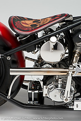 """""""Against All Odds"""", a custom red shovelhead built for Glenn Stephenson by Will Ramsey of Faith Forgotten Choppers in New Albany, IN. Photographed by Michael Lichter in Boulder, CO on July 25, 2016. ©2016 Michael Lichter."""