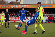 AFC Wimbledon striker Joe Pigott (39) battles for possession with Bolton Wanderers defender Ryan Delaney (6)during the EFL Sky Bet League 1 match between AFC Wimbledon and Bolton Wanderers at the Cherry Red Records Stadium, Kingston, England on 7 March 2020.