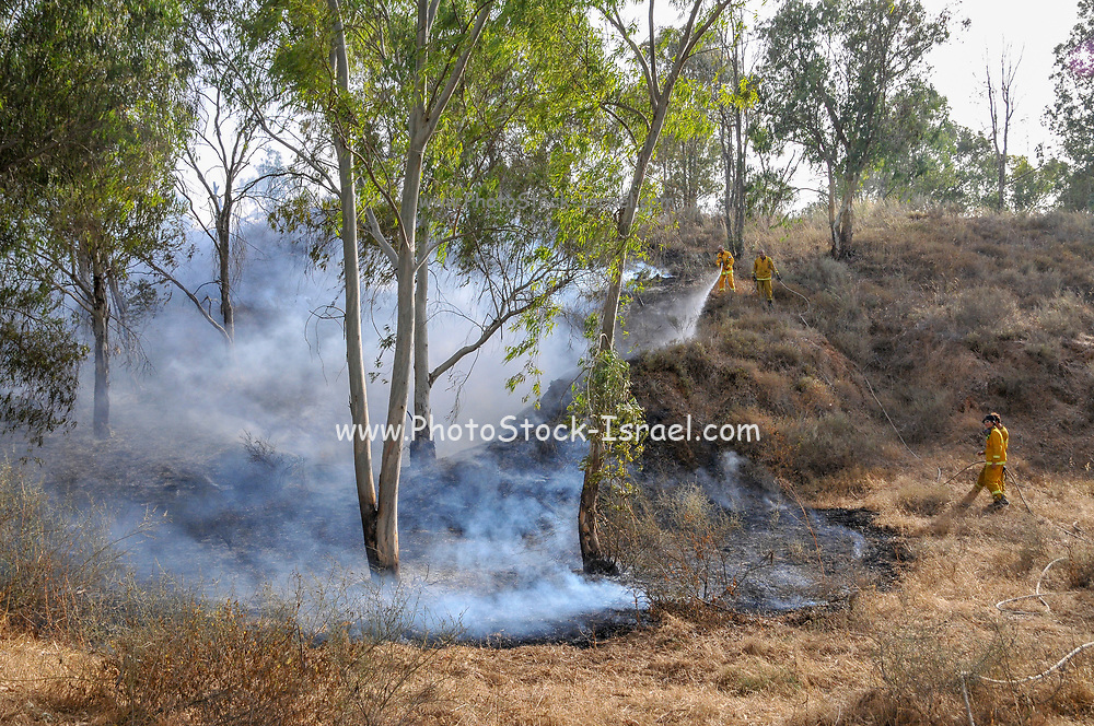 Firefighters fight a fire caused by Palestinian Kite bombs that were flown from Gaza with a lit petrol soaked cloth, to set fires to Israeli fields and crops. Photographed on May 25, 2018 on the Israel Palestine (Gaza) Border
