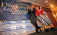 Tammy Duckworth, Democratic candidate for Illinois' 6th Congressional District, at a rally in Elmhurst, Illinois on November 6, 2006. Duckworth, an Iraq war veteran who lost both legs in the war, is running against Republican Peter Roskam for the congressional seat being vacated by retiring Congressman Henry Hyde. (UPI)