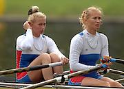 Amsterdam, HOLLAND, RUS W2X , bow Yulia KALINOVSKAYA and Itina FEDOTOVA,  move away from the start,  at the 2007 FISA World Cup Rd 2 at the Bosbaan Regatta Rowing Course. [Date] [Mandatory Credit: Peter Spurrier/Intersport-images]..... , Rowing Course: Bosbaan Rowing Course, Amsterdam, NETHERLANDS