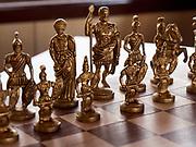 India, Uttar Pradesh. Maharajas' Express luxury train. Chess game at the Safari bar car.