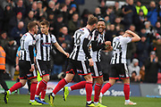 Grimsby Town celebrate goal scored by Grimsby Town Forward Wes Thomas (39) to go 1-0 during the EFL Sky Bet League 2 match between Grimsby Town FC and Milton Keynes Dons at Blundell Park, Grimsby, United Kingdom on 26 January 2019.