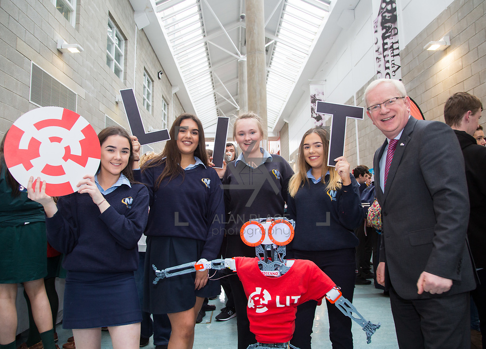 20.10.17.            <br /> Enjoying the LIT (Limerick School of Technology) open day were, Nenagh College students, Farrah Cawley, Yasmine Madden, Sarah Creamer and Kelsey Kennelly with Prof Vincent Cunnane, President LIT. Picture: Alan Place