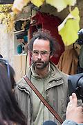 November 8, 2016 - Breil-sur-Roya, France: Cedric Herrou, a 37-year-old farmer, houses migrants on his farm. Cedric is one of the 120 inhabitants of the village Breil-sur-Roya in the Roya valley, in the Alps on the French Italian border, who formed a clandestine network to help migrants who walked into the valley from Ventimiglia, Italy, with shelter, food and transportation.<br /> <br /> 8 novembre 2016 - Breil-sur-Roya, France: Cedric Herrou, agriculteur de 37 ans, héberge des migrants sur sa ferme. Cédric est l'un des 120 habitants du village de Breil-sur-Roya dans la vallée de la Roya, à la frontière italienne, qui aident des migrants.