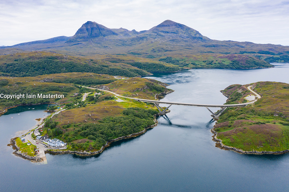 Aerial view of Kylesku Bridge crossing Loch a' Chàirn Bhàin in Sutherland, Scotland, UK